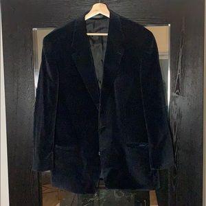 Velvet blazer with houndstooth print
